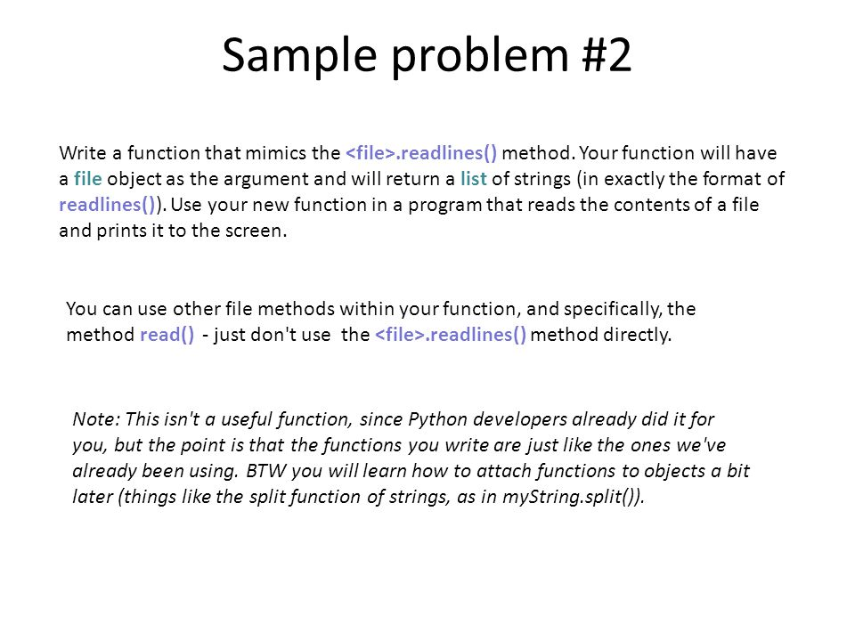 Write a function that mimics the.readlines() method. Your function will have a file object as the argument and will return a list of strings (in exact