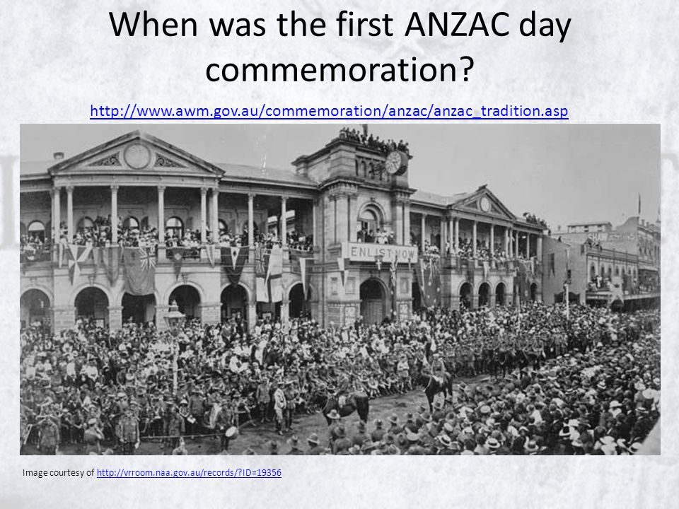When was the first ANZAC day commemoration.