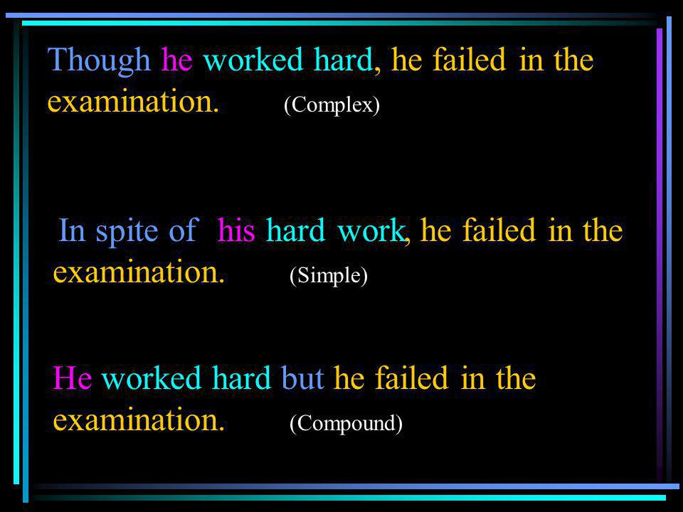 Though he worked hard, he failed in the examination. (Complex) hard, he failed in the examination. (Simple) He worked hard but he failed in the examin