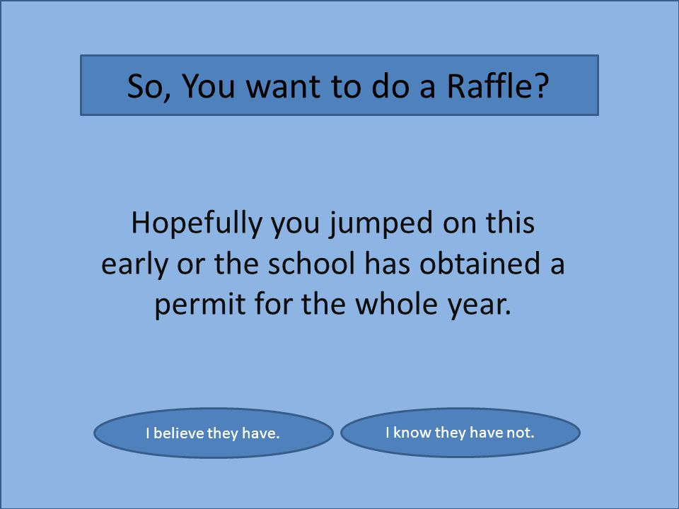 I believe they have. I know they have not. So, You want to do a Raffle.