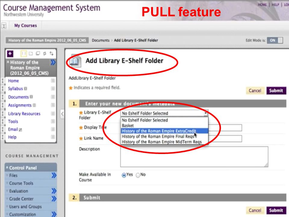 PULL feature
