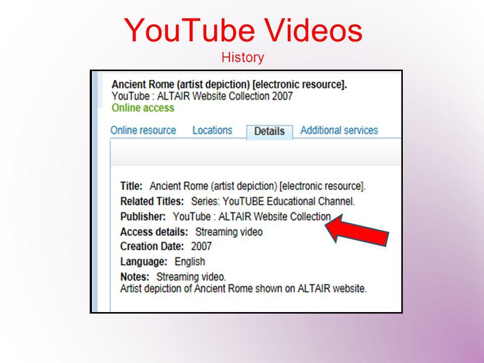 YouTube Videos History