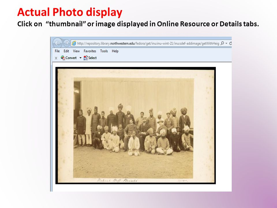 "Actual Photo display Click on ""thumbnail"" or image displayed in Online Resource or Details tabs."