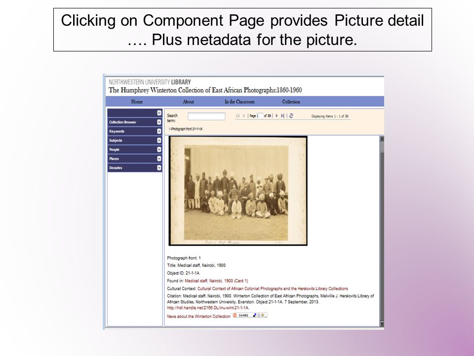 Clicking on Component Page provides Picture detail …. Plus metadata for the picture.