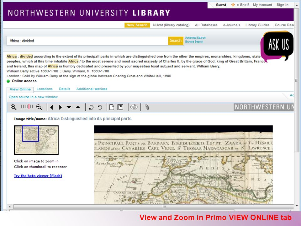 View and Zoom in Primo VIEW ONLINE tab