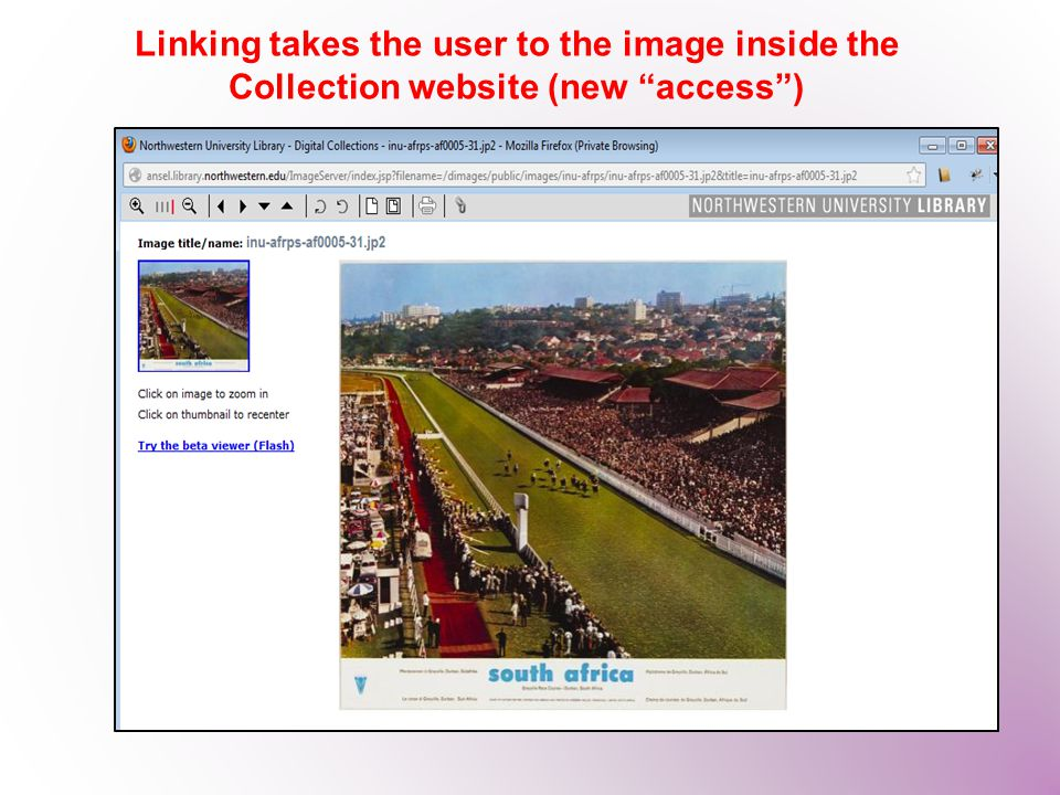 "Linking takes the user to the image inside the Collection website (new ""access"")"