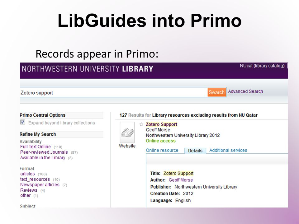 LibGuides into Primo Records appear in Primo:
