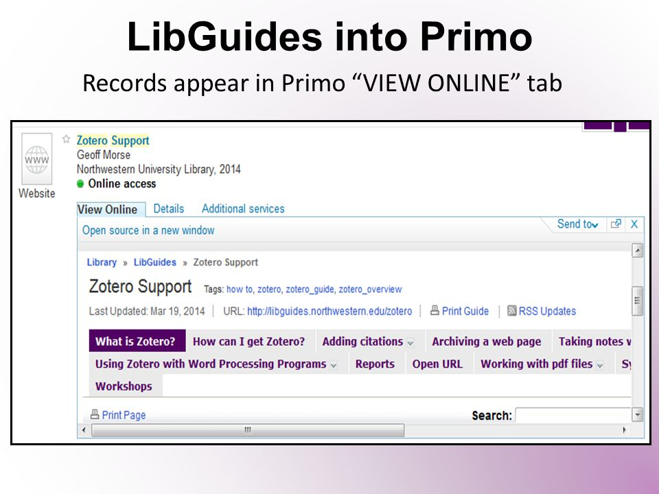 "LibGuides into Primo Records appear in Primo ""VIEW ONLINE"" tab"