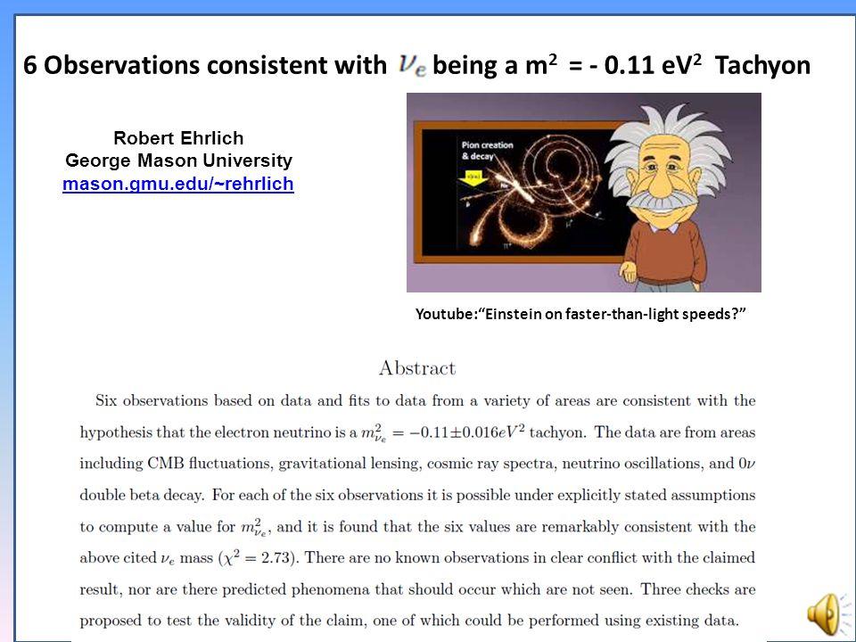 Robert Ehrlich George Mason University mason.gmu.edu/~rehrlich Youtube: Einstein on faster-than-light speeds? 6 Observations consistent with being a m 2 = - 0.11 eV 2 Tachyon