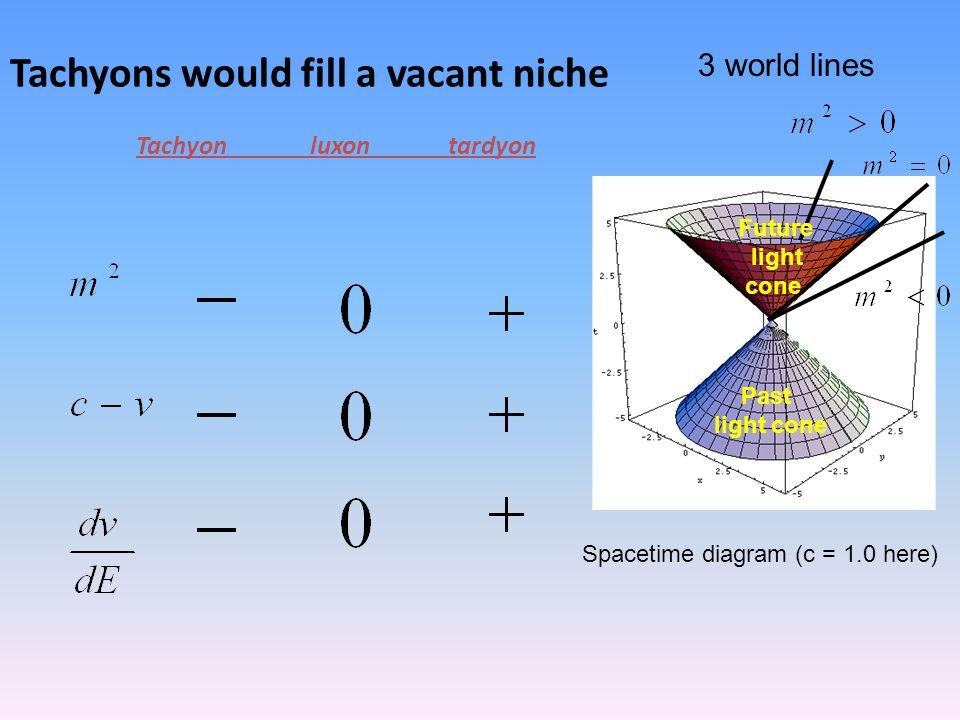 Tachyons would fill a vacant niche Tachyon luxon tardyon Past light cone Future light cone 3 world lines Spacetime diagram (c = 1.0 here)