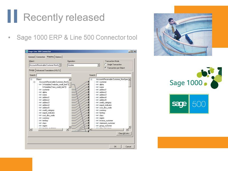 www.orbis-software.com Recently released Sage 1000 ERP & Line 500 Connector tool