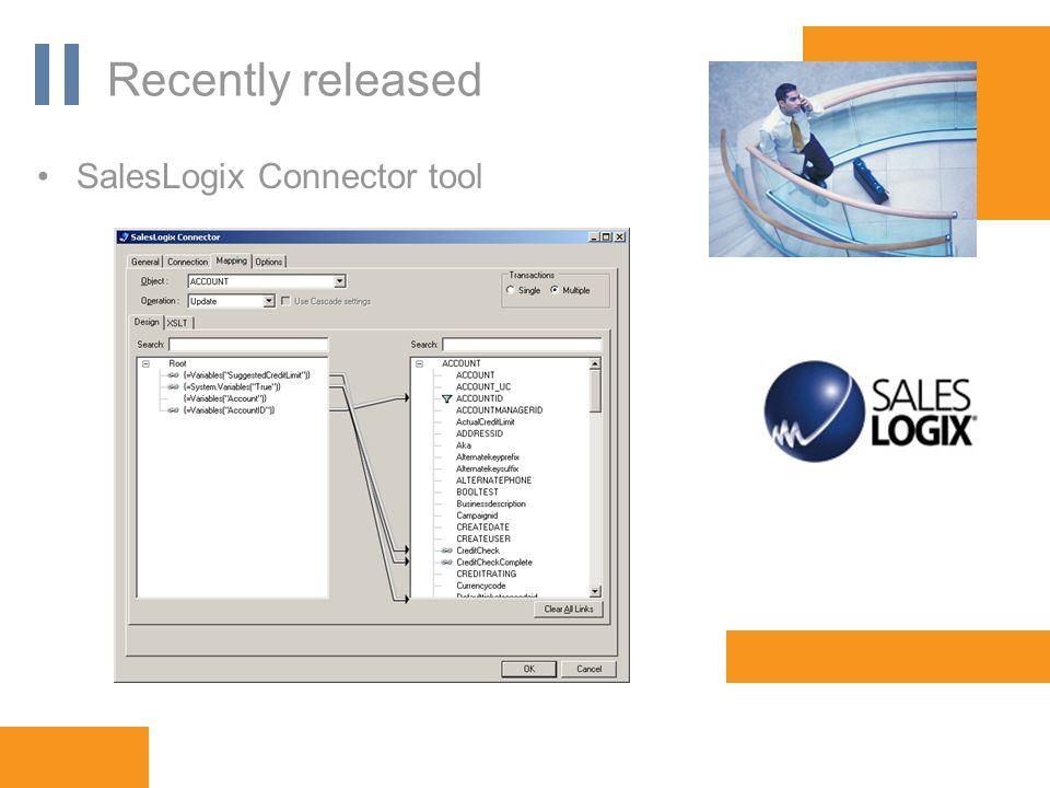 www.orbis-software.com Recently released SalesLogix Connector tool