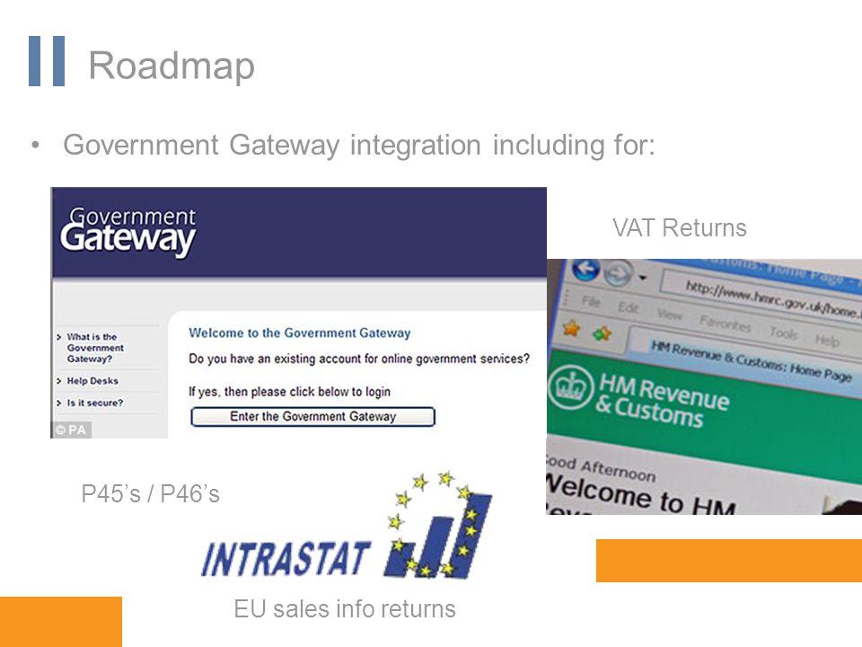 www.orbis-software.com Roadmap Government Gateway integration including for: VAT Returns EU sales info returns P45's / P46's