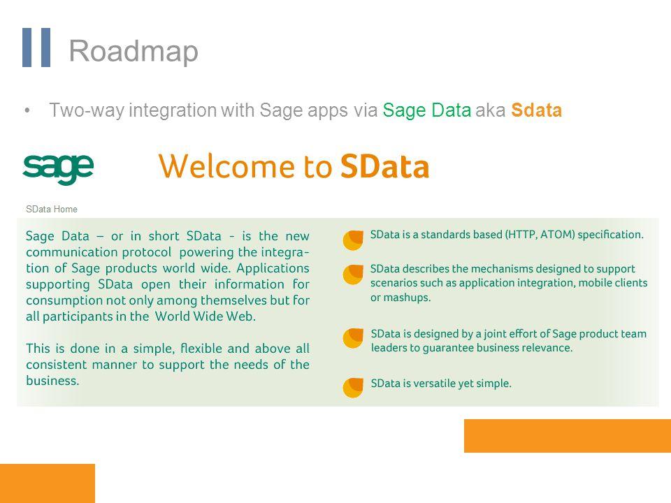 www.orbis-software.com Roadmap Two-way integration with Sage apps via Sage Data aka Sdata