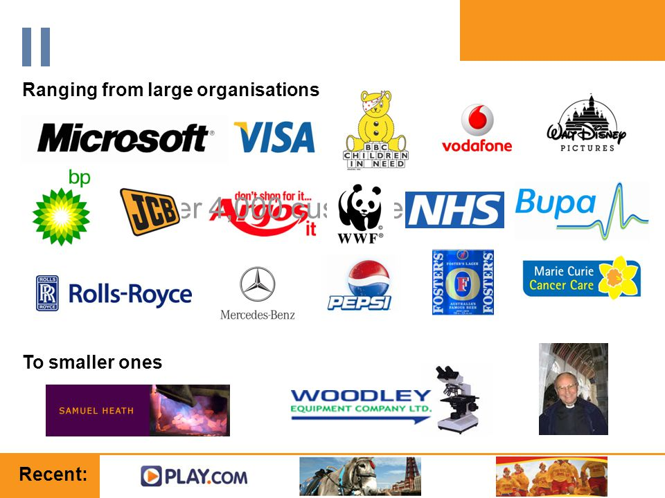 www.orbis-software.com Over 4,000 customers Ranging from large organisations To smaller ones Recent: