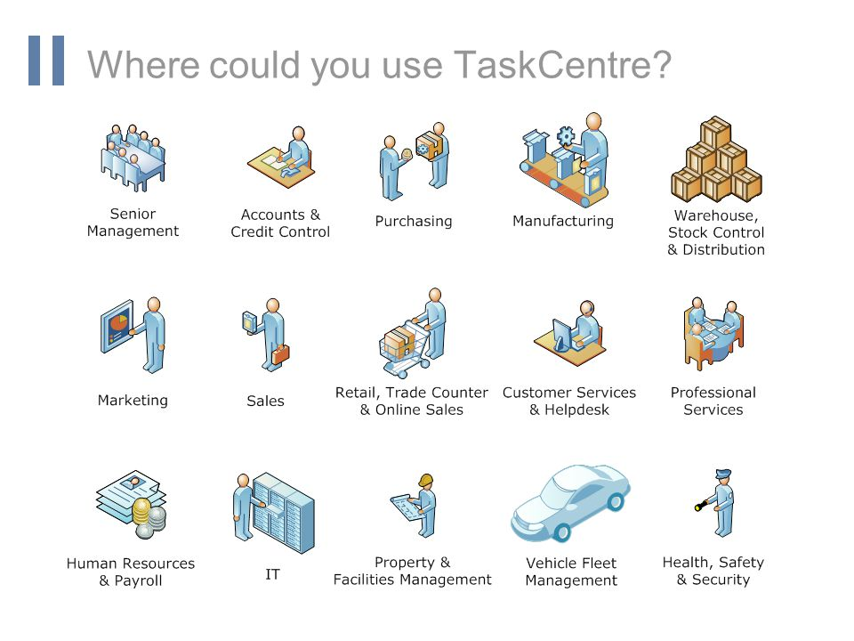 www.orbis-software.com Where could you use TaskCentre