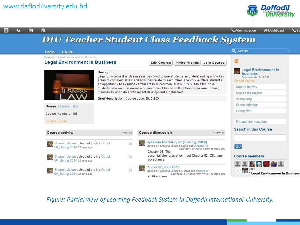 www.daffodilvarsity.edu.bd Figure: Partial view of Learning Feedback System in Daffodil International University.