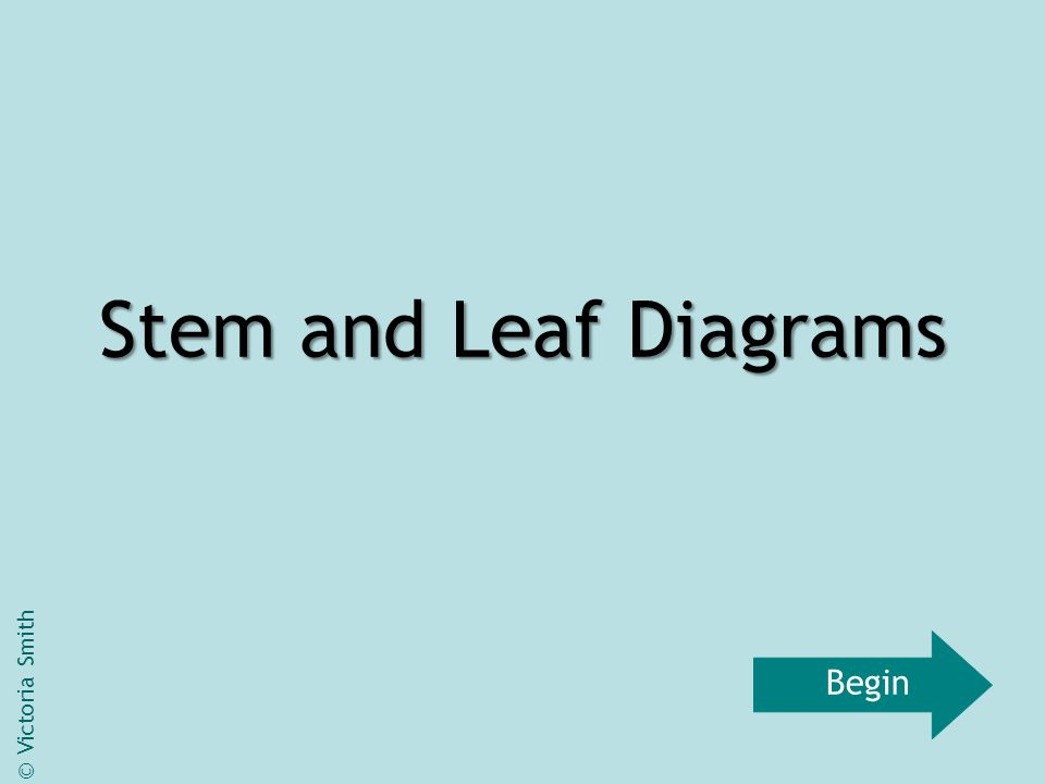 Stem and Leaf Diagrams © Victoria Smith Begin