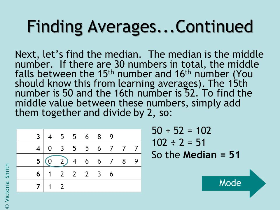 Finding Averages...Continued Next, let's find the median.