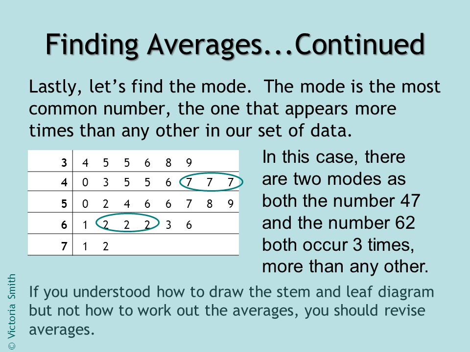 Finding Averages...Continued Lastly, let's find the mode. The mode is the most common number, the one that appears more times than any other in our se