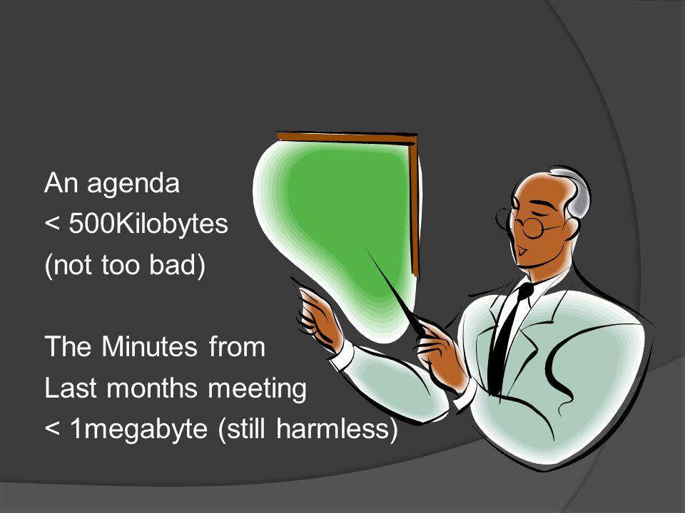 An agenda < 500Kilobytes (not too bad)