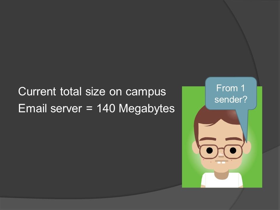 Current total size on campus Email server = 140 Megabytes