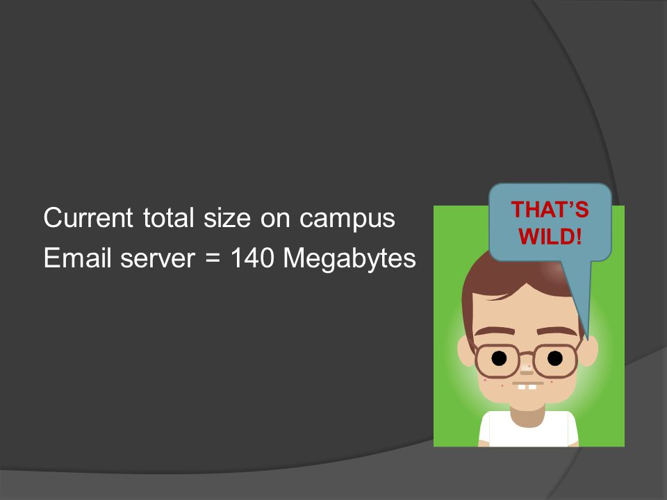 Current total size on campus Email server = 140 Megabytes From 1 sender