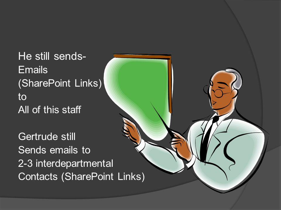 He still sends- Emails (SharePoint Links) to All of this staff