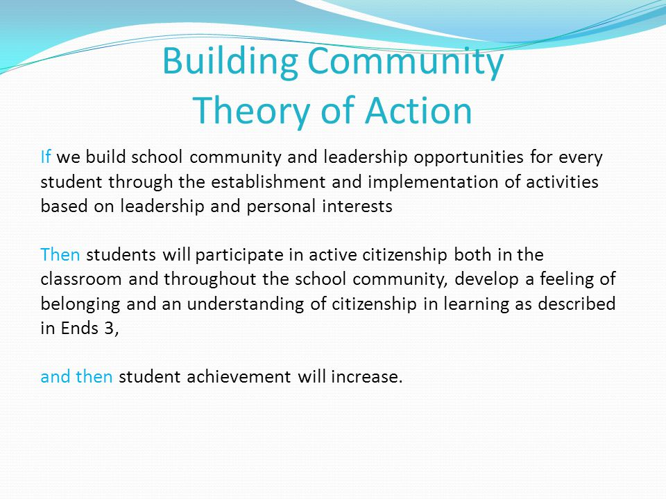 Building Community Theory of Action If we build school community and leadership opportunities for every student through the establishment and implementation of activities based on leadership and personal interests Then students will participate in active citizenship both in the classroom and throughout the school community, develop a feeling of belonging and an understanding of citizenship in learning as described in Ends 3, and then student achievement will increase.