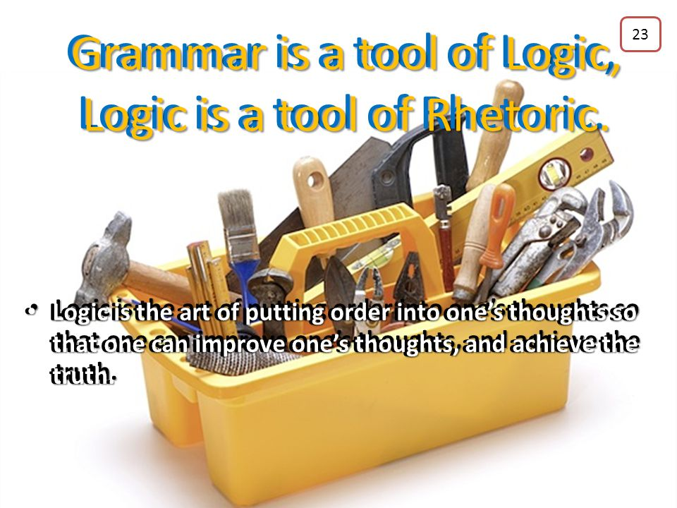 Grammar is a tool of Logic, Logic is a tool of Rhetoric. Grammar is the art of putting order into one's words so that one can style one's expressions
