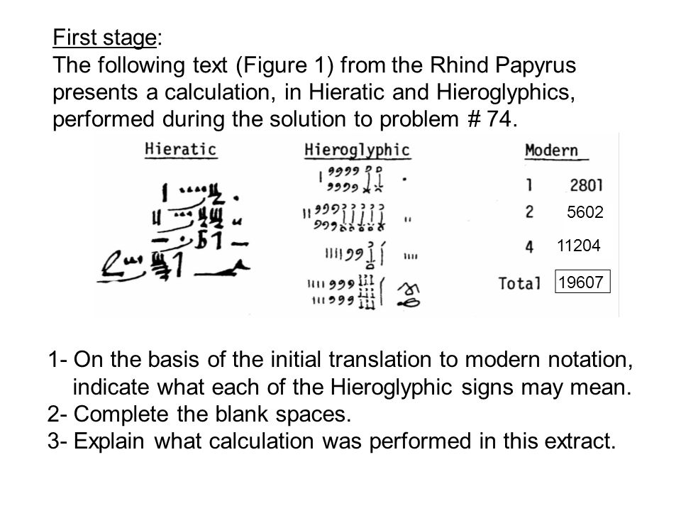 First stage: The following text (Figure 1) from the Rhind Papyrus presents a calculation, in Hieratic and Hieroglyphics, performed during the solution to problem # 74.