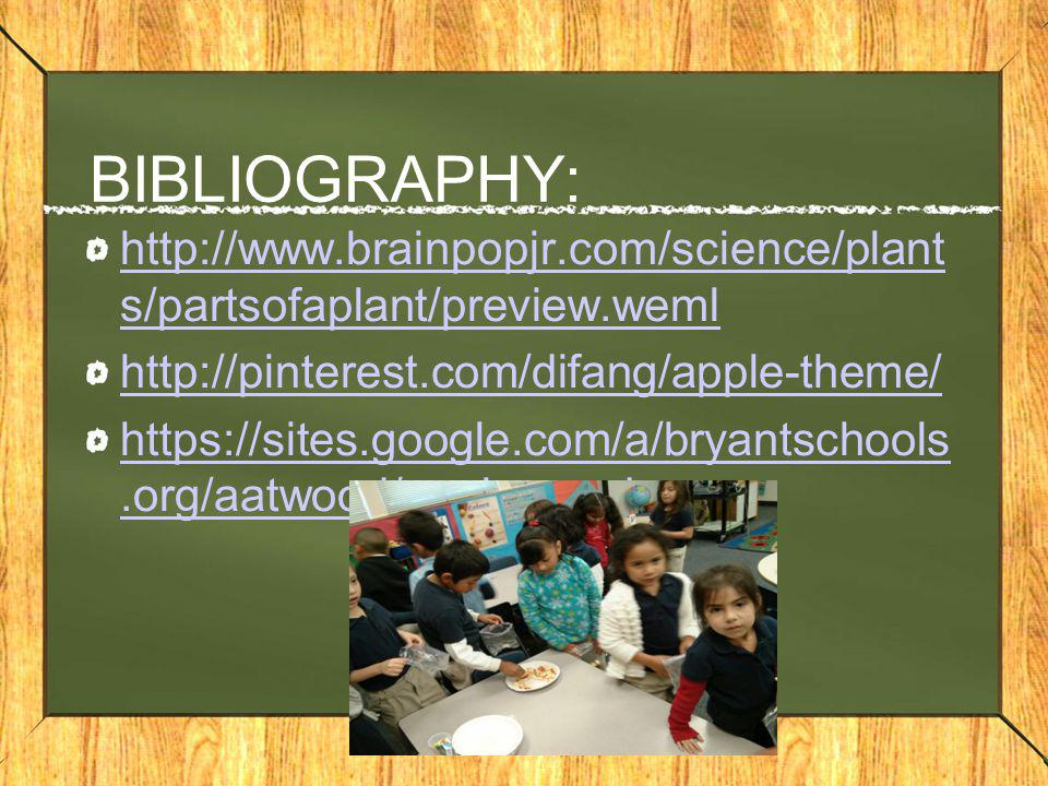 BIBLIOGRAPHY: http://www.brainpopjr.com/science/plant s/partsofaplant/preview.weml http://pinterest.com/difang/apple-theme/ https://sites.google.com/a