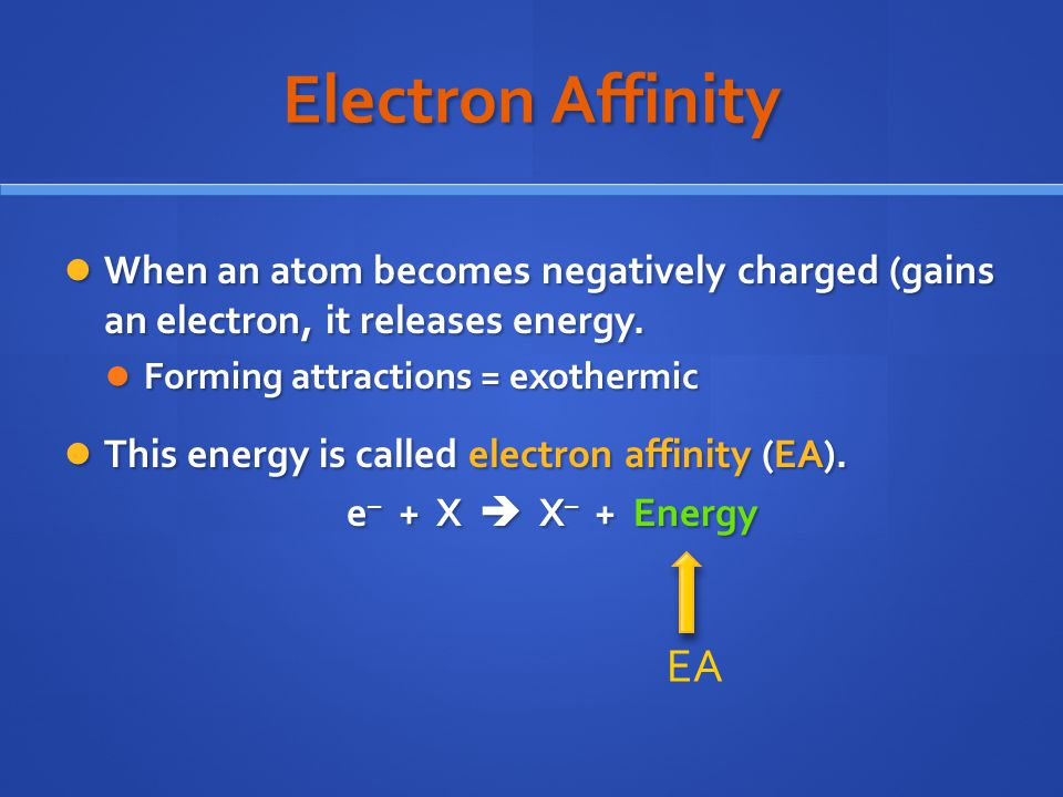 Electron Affinity When an atom becomes negatively charged (gains an electron, it releases energy.