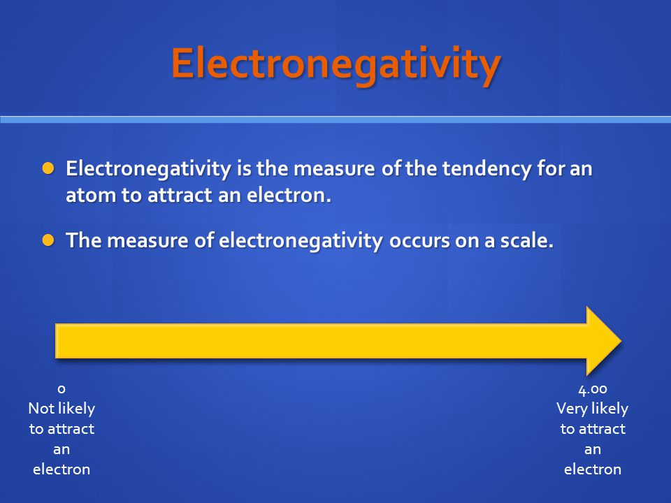Electronegativity Electronegativity is the measure of the tendency for an atom to attract an electron.