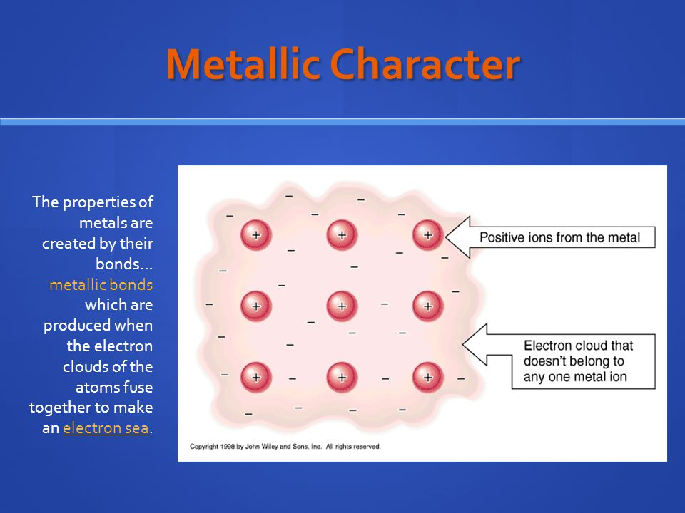Metallic Character The properties of metals are created by their bonds… metallic bonds which are produced when the electron clouds of the atoms fuse together to make an electron sea.