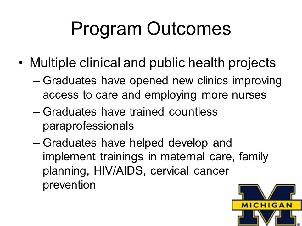Program Outcomes Multiple clinical and public health projects –Graduates have opened new clinics improving access to care and employing more nurses –Graduates have trained countless paraprofessionals –Graduates have helped develop and implement trainings in maternal care, family planning, HIV/AIDS, cervical cancer prevention