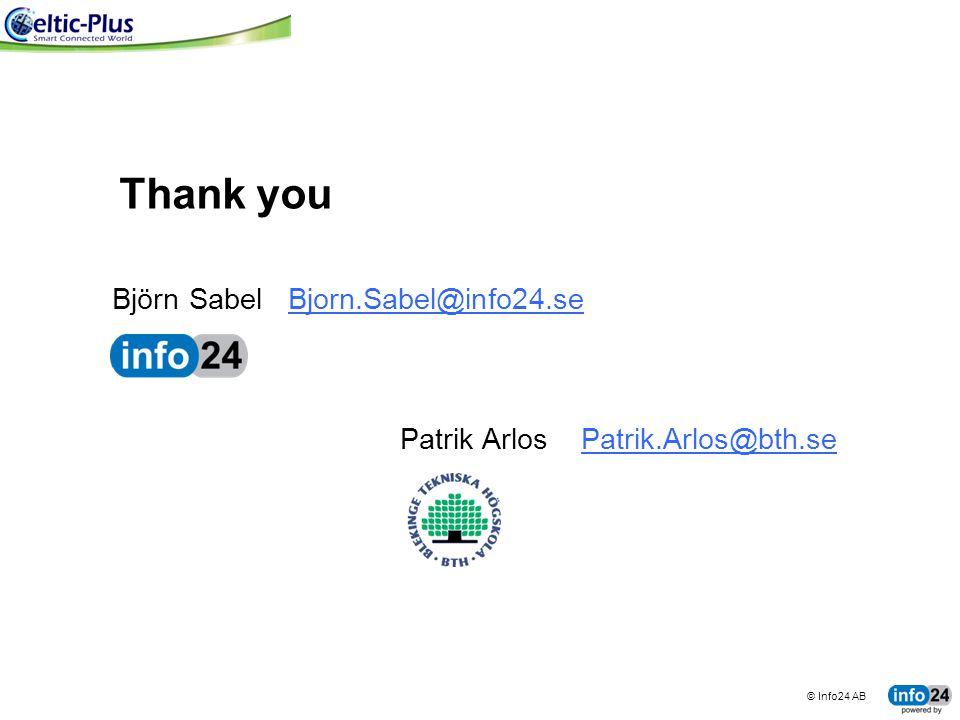 © Info24 AB tingco BUSINESS SYSTEMS FOR CONNECTED MACHINES Björn Sabel Bjorn.Sabel@info24.se Patrik Arlos Patrik.Arlos@bth.se Thank you