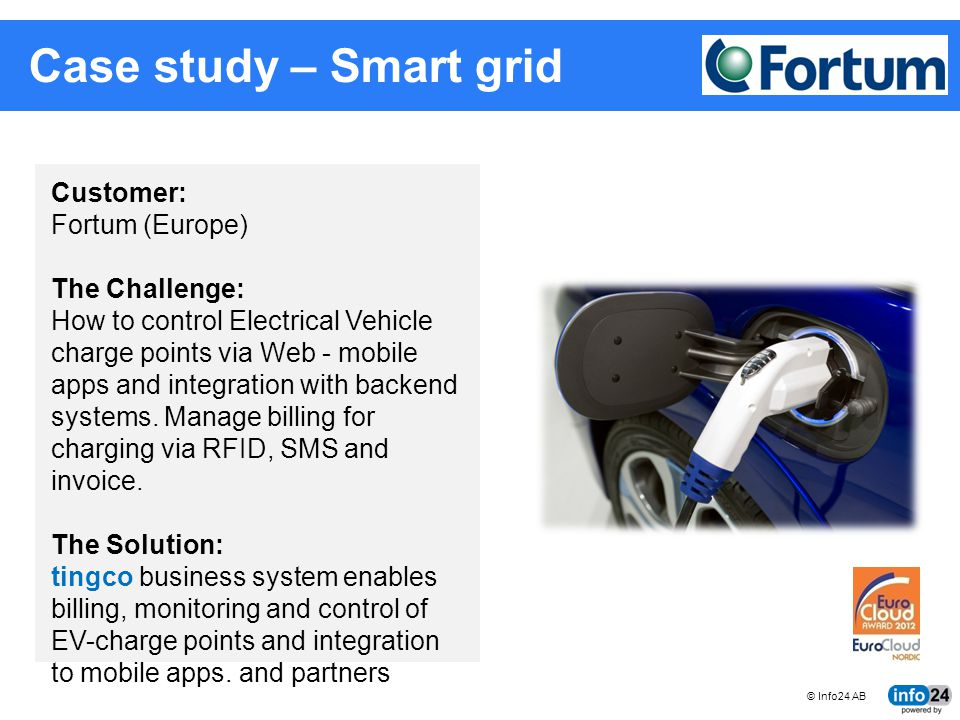 © Info24 AB tingco BUSINESS SYSTEMS FOR CONNECTED MACHINES Case study – Smart grid Customer: Fortum (Europe) The Challenge: How to control Electrical