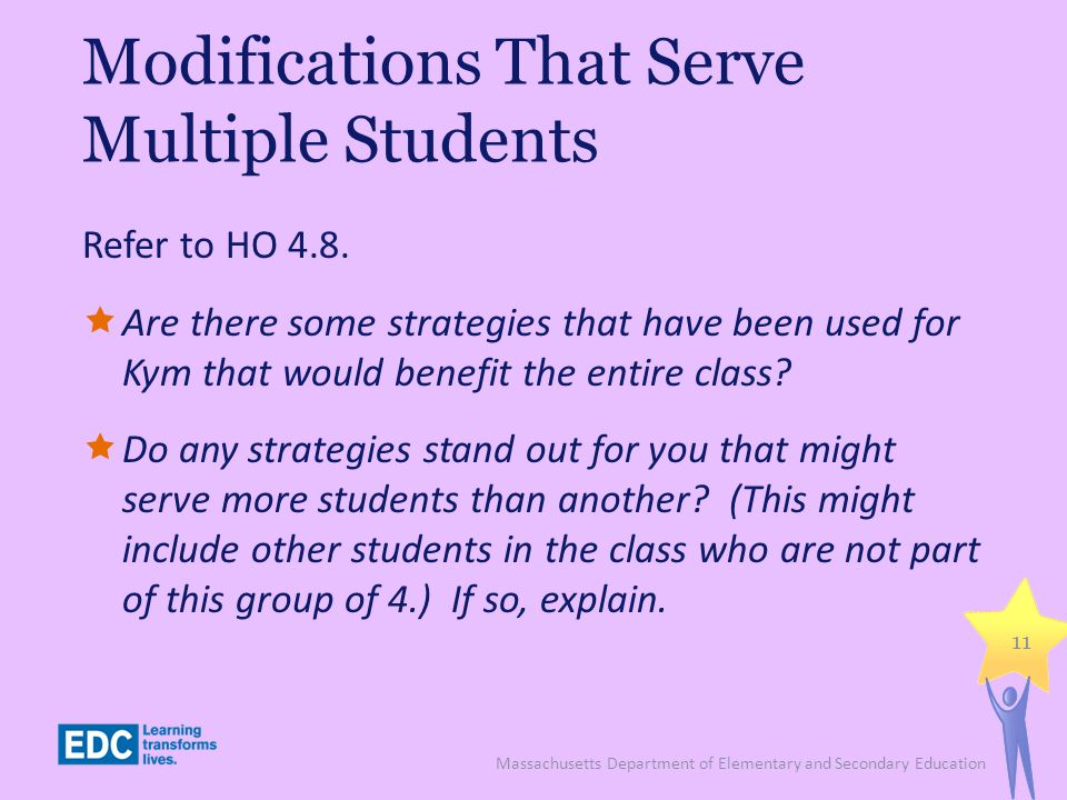 Modifications That Serve Multiple Students Refer to HO 4.8.
