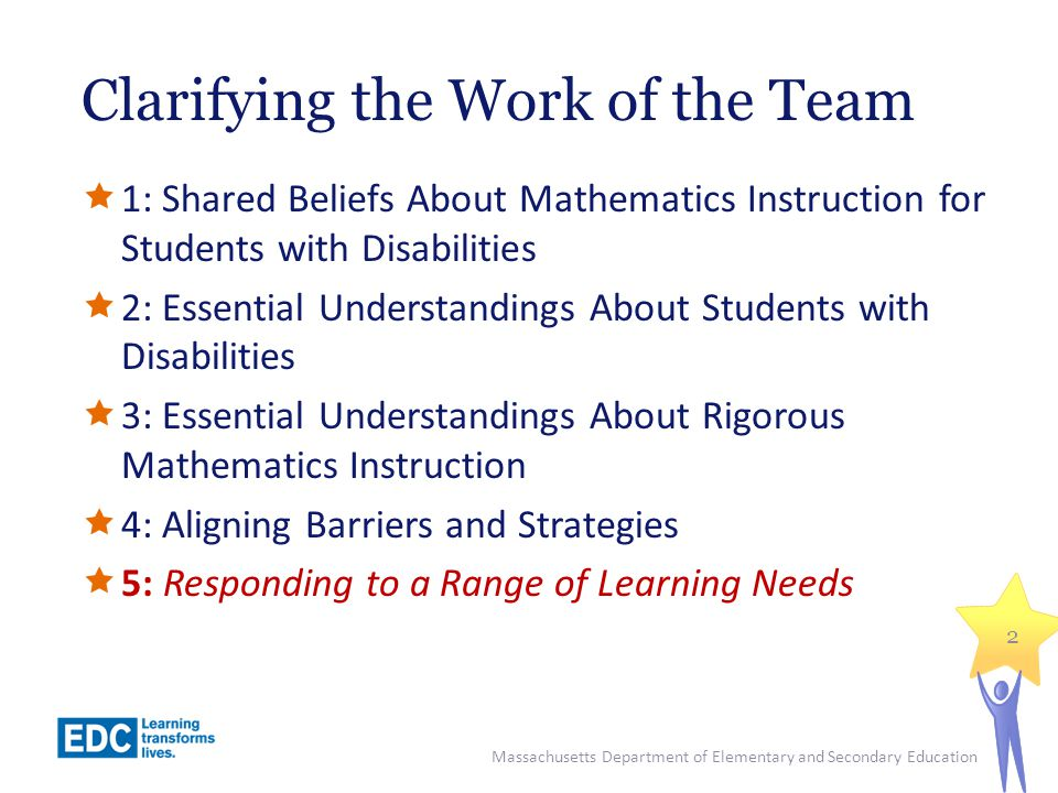 Clarifying the Work of the Team  1: Shared Beliefs About Mathematics Instruction for Students with Disabilities  2: Essential Understandings About Students with Disabilities  3: Essential Understandings About Rigorous Mathematics Instruction  4: Aligning Barriers and Strategies  5: Responding to a Range of Learning Needs 2 Massachusetts Department of Elementary and Secondary Education