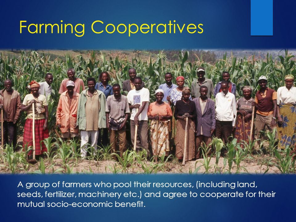 Farming Cooperatives A group of farmers who pool their resources, (including land, seeds, fertilizer, machinery etc.) and agree to cooperate for their mutual socio-economic benefit.