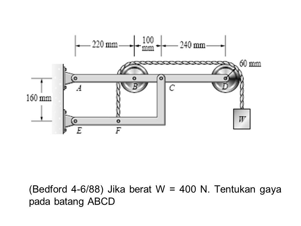 (Bedford 4-6/88) Jika berat W = 400 N. Tentukan gaya pada batang ABCD