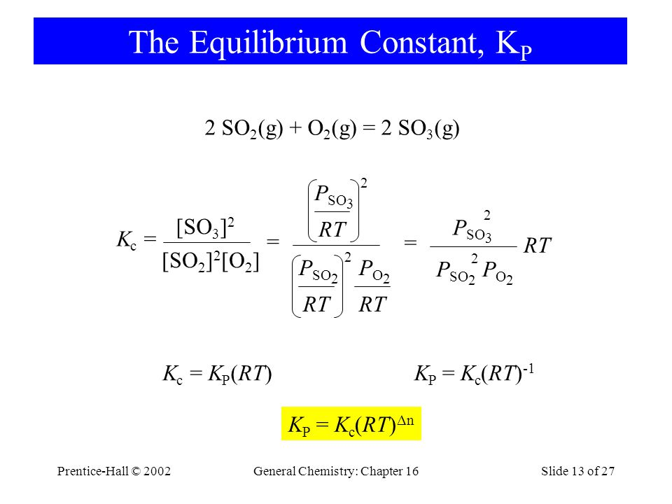 Prentice-Hall © 2002General Chemistry: Chapter 16Slide 13 of 27 The Equilibrium Constant, K P 2 SO 2 (g) + O 2 (g) = 2 SO 3 (g) K c = [SO 2 ] 2 [O 2 ]