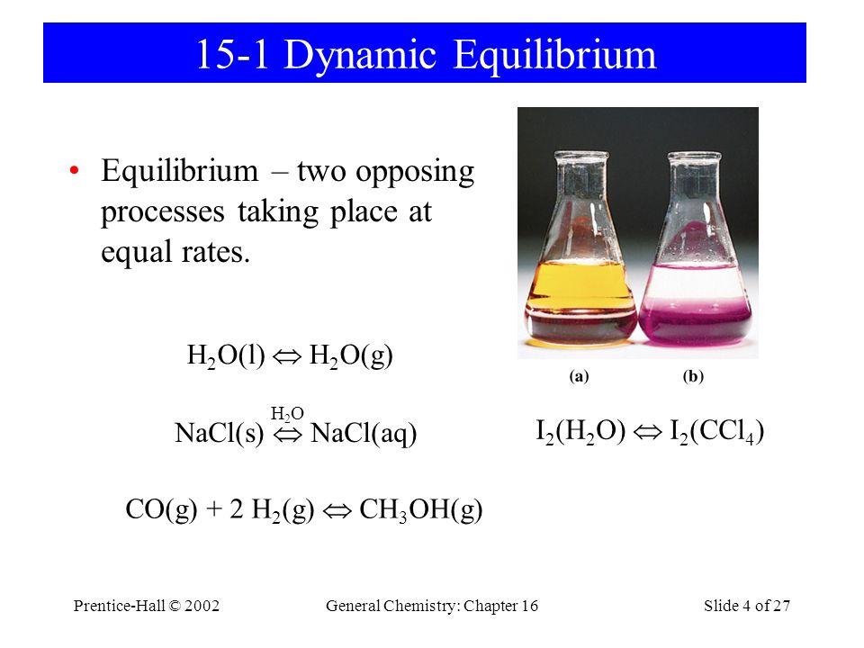 Prentice-Hall © 2002General Chemistry: Chapter 16Slide 5 of 27 15-2 The Equilibrium Constant Expression Forward:CO(g) + 2 H 2 (g) → CH 3 OH(g) Reverse:CH 3 OH(g) → CO(g) + 2 H 2 (g) At Equilibrium: R fwrd = k 1 [CO][H 2 ] 2 R rvrs = k -1 [CH 3 OH] R fwrd = R rvrs k 1 [CO][H 2 ] 2 = k -1 [CH 3 OH] [CH 3 OH] [CO][H 2 ] 2 = k1k1 k -1 = K c CO(g) + 2 H 2 (g)  CH 3 OH(g) k1k1 k -1 k1k1