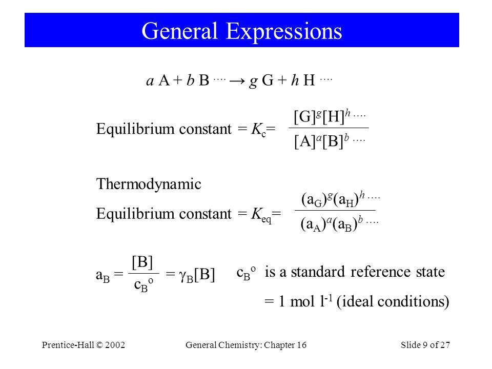 Prentice-Hall © 2002General Chemistry: Chapter 16Slide 20 of 27 Le Châtelier's Principle Q = = K c [SO 2 ] 2 [O 2 ] [SO 3 ] 2 Q > K c 2 SO 2 (g) + O 2 (g)  2 SO 3 (g) k1k1 k -1 K c = 2.8 · 10 2 at 1000K