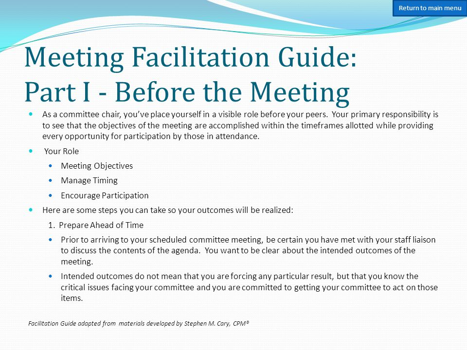 Meeting Facilitation Guide: Part II – Opening the Meeting 2.