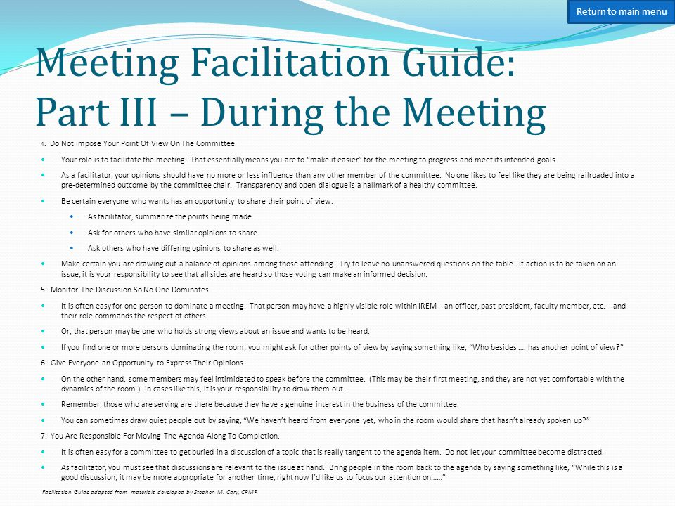 Meeting Facilitation Guide: Part IV – Closing the Meeting 9.
