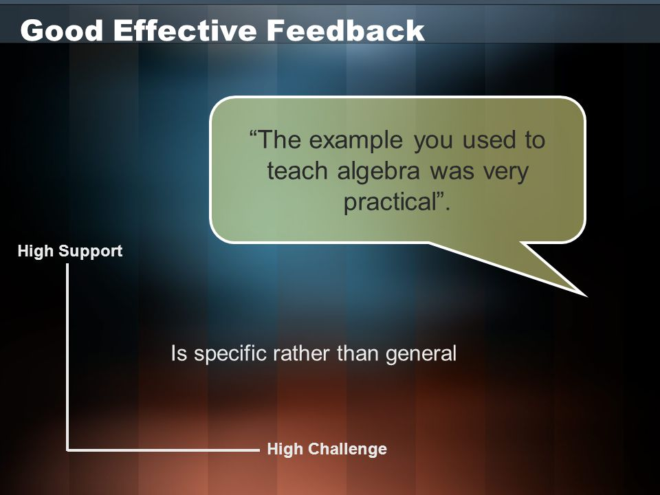 Good Effective Feedback High Challenge High Support Is specific rather than general The example you used to teach algebra was very practical .