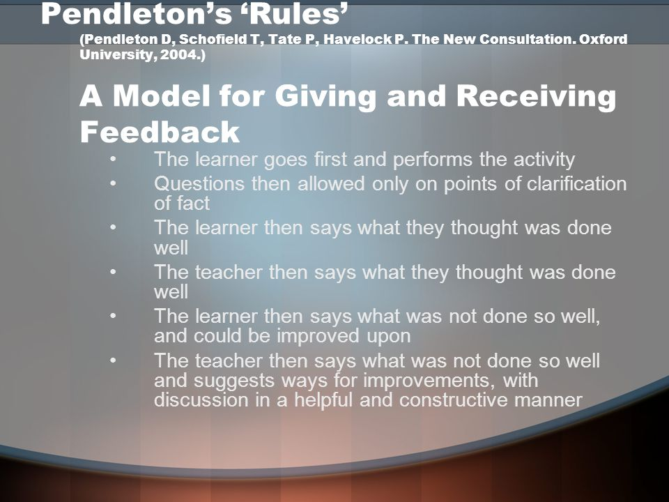 Pendleton's 'Rules' (Pendleton D, Schofield T, Tate P, Havelock P. The New Consultation. Oxford University, 2004.) A Model for Giving and Receiving Fe