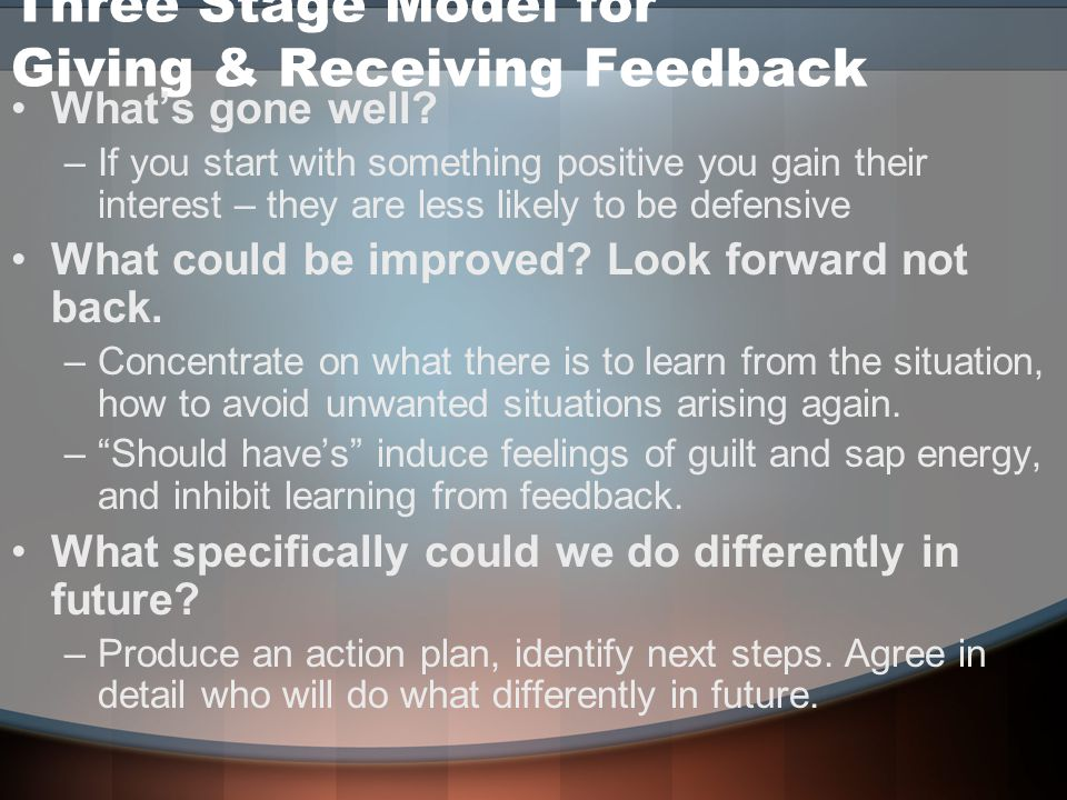Three Stage Model for Giving & Receiving Feedback What's gone well.